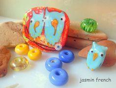 jasmin french ' wood tale ' lampwork focal bead glass art set