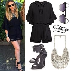Perrie Edwards posed with fans and her bandmates at Radio Aire in Leeds earlier this month wearing a H&M Hemstitch Jumpsuit ($39.95), Chanour Antalya Coin Collar ($98.00) from Free People, her favourite Kurt Geiger HARMONY Sandals (sold out) and a pair of Urban Outfitters Bold Brow Bar Sunglasses ($18.00).