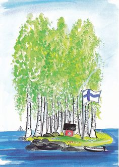Midsummerfest is our National jubilee. Finnish flag belongs to this party. Finnish Sauna, Scandinavian Countries, Summer Art, Whimsical Art, Painting For Kids, The Fresh, Artsy Fartsy, Artwork, Pictures