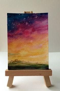 ACEO ORIGINAL Sunset Night Sky Watercolor