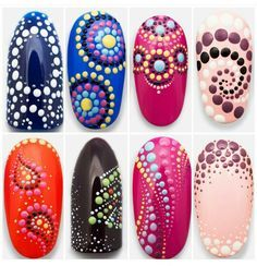 Simple Ideas For Nail Designs. Nail designs or nail art is definitely a simple plan - styles or art that is utilized to spruce up the finger or toenails. They are used mostly to further improve a fancy dress or brighten an everyday look. Diy Nails, Cute Nails, Pretty Nails, Dot Nail Art, Polka Dot Nails, Polka Dots, Nail Art Designs, Dot Designs, Pedicure Designs