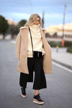 Coat : Stella McCartney Culottes : DesignersRemix Sweater : Acne Bag : Saint Laurent Platform heels : Stella McCartney