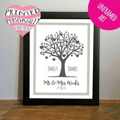 ** FREE UK FIRST CLASS POSTAGE **  A modern and completely personal wedding day gift uniquely personalised first names of the couple, date of the wedding day, and married surname. This tree of love wedding present makes the perfect unusual gift that the new Mr and Mrs can hang on their wall and treasure for a lifetime. Can be customised for other occasions; anniversary, family tree, new home etc. This personalised print comes unframed for you to frame yourself. It is printed on premium…