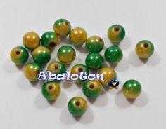 bolas acrilicas efecto miracle verde amarillas 8mm