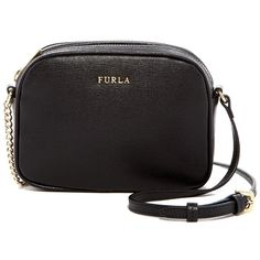 Furla Milky Leather Crossbody ($110) ❤ liked on Polyvore featuring bags, handbags, shoulder bags, onyx, genuine leather shoulder bag, leather purses, leather shoulder handbags, furla purses and leather crossbody handbags