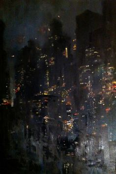 Blue Manhattan, oil on canvas Zachary Johnson Urban Landscape, Abstract Landscape, Abstract Art, Landscape Photos, Modern Art, Contemporary Art, City Painting, Nocturne, Art Abstrait