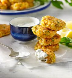 Mini haloumi and sweet potato fritters with lemon and mint dipping sauce recipe - Better Homes and Gardens - Yahoo!7