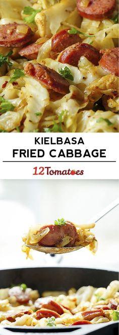 Cabbage & Kielbasa Skillet Cabbage Recipes, Pork Recipes, New Recipes, Cooking Recipes, Favorite Recipes, Healthy Recipes, Cabbage Ideas, Slovak Recipes, Chicken Recipes