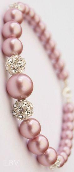 Linda pulsera de perlas rosas ✿⊱╮