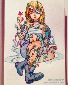 Flower Wounds by Qinni Kpop Drawings, Cute Drawings, Qinni, Character Art, Character Design, Vent Art, Marker Art, Traditional Art, Cartoon Art