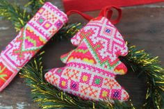 Embroidered Hmong Christmas Ornaments Set Of 4 by SiameseDreamDesign