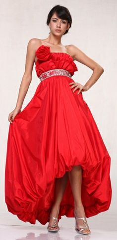 Long Red Ball Gown Taffeta Rose Bodice Ruched Rhinestone Empire Waist