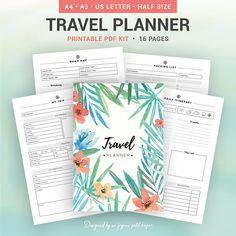 TRAVEL PLANNER printable planner packing list road map