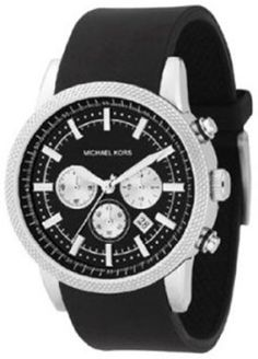 On Amazon (yes really) Michael Kors Watches Men's Black PU Chronograph (Black)