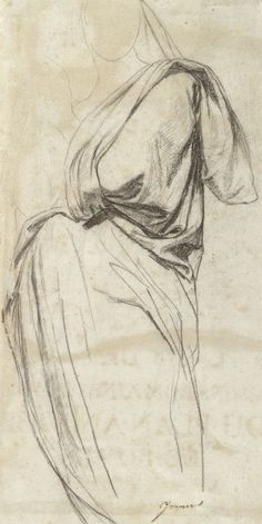 """Jean Auguste Dominique Ingres (1780–1867), Drapery Study for the Madonna in """"The Vow of Louis XIII"""", 1821 