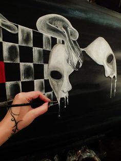 """Darkness falls upon my mind Recalls all the sleepless nights"" Dedykowane I.O.I /2013/ acryl on canvas 50x100"