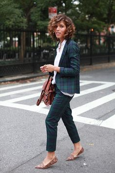 with a plaid 2-piece suit + neutral print flats \\ @dressmeSue pins real outfits