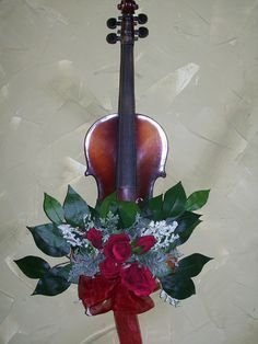 Red Rose Upcycled Violin Wall Hanging by KimsCountryCorner on Etsy, $75.00