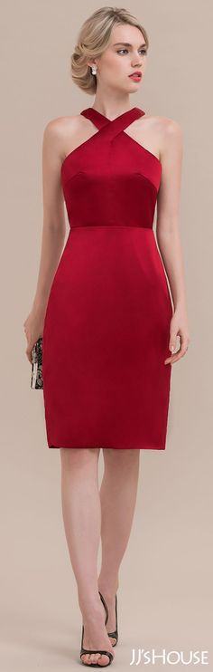 Sheath/Column Red Homecoming Dress,Knee-Length Satin Cocktail Dress