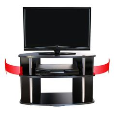 Made of wood in black with stainless steel poles Provides full 360-degree swivel action Provides ample storage space Holds most TV screens up to 31 in. wide Dimensions: 31.5W x 15.75D x 20H in.