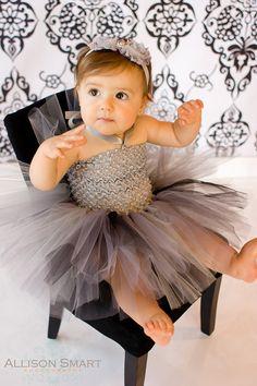 bebé niñas tutu vestido crochet negro gris carbón plata blusa halter del satén lazos 0-12 meses