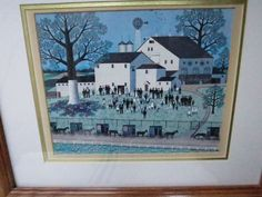 Charles Wysocki Amish Meeting Framed & Matted Print Wooden Frame #Vintage