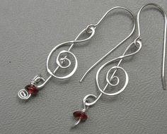 Treble Clef Earrings Silver with Garnet by nicholasandfelice, $22.00