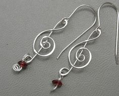 Treble Clef Earrings Silver with Garnet by nicholasandfelice
