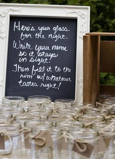 I don't think I would do this for a wedding, but I have a love affair with mason jars, so I would use this idea for another party! Chic Wedding, Perfect Wedding, Fall Wedding, Rustic Wedding, Our Wedding, Dream Wedding, Wedding Signs, Wedding Stuff, Wedding Photos