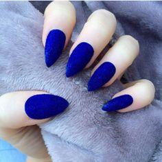 Doobys Stiletto Nails Electric Blue velvet furry nails 24 Claw Point False Nails dark blue