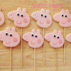 Peppa Pig Cookies by Sweet Pops by Emily, Tarneit, Victoria, Australia. You'll find this Cake Appreciation Society Member in our Directory at www.cakeappreciationsociety.com