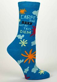 "Blue Q Women's Crew Socks ""Carpe The **** Out Of This Diem"""