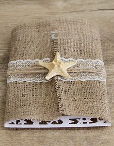 """White Sandy Beach"", starfish shaped laser cut wedding invitation, covered with burlap & lace, natural starfish on top"