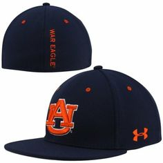 best service ac265 69790 Under Armour Auburn Tigers Stretch Fit Flat Bill Performance Hat - Navy Blue