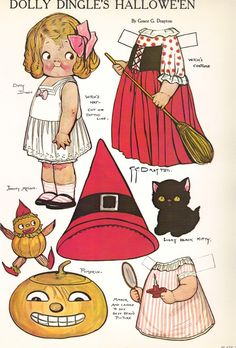 Printable Dolly Dingle Paper Doll | Vintage 1979 DOLLY DINGLE Halloween Paperdolls and Clothing sheet