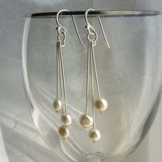 Pearl earrings - could be done with any roundish beads!