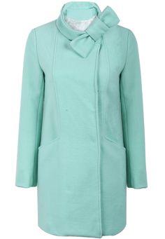 Blue Stand Collar Long Sleeve Bow Coat - Sheinside.com