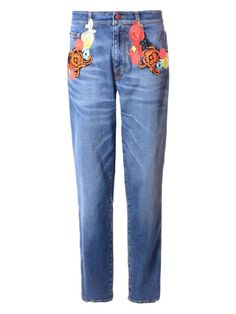 Christopher Kane Floral-embroidered jeans