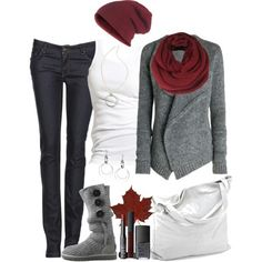 Winter fashion- white, gray, and red