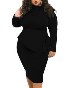 lexiart Plus Size Dress for Women - Sexy Loose Stretchy Plus Size Peplum Dresses with Bowknot Plus Size Winter Dresses, Plus Size Bodycon Dresses, Plus Size Peplum, Plus Size Formal Dresses, Women's Plus Size Shorts, Bodycon Dress Parties, Formal Dresses For Women, Peplum Dresses, Dress Formal