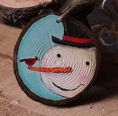 Country Snowman with Cardinal Hand-Painted Wood Slice Ornament (Personalized)