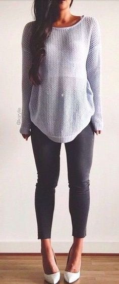#fall #fashion casual / gray knit