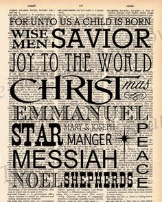 This grouping of words describes the Christian Christmas Season. Emmanuel, Savior, Manger, Star, Wise Men, etc. *****Great for changing monthly in your 8x10 frame for home decor!********** or Great for the hostess of a Christmas party! - The dictionary page is about 8x10 3/4 inches. - Each dictionary page will be slightly different, but from the same vintage book. - These make great gifts to frame in an 8x10 frame or to decorate your home with. - Your print will be packaged ...