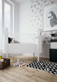 Looking for a modern monochromatic look for your kids room? This collection of monochrome kids rooms will inspire you to create an lovely space that you child can grow into! White Nursery, Nursery Neutral, Nursery Room, Kids Bedroom, Baby Room, Kids Rooms, Monochrome Nursery, Nursery Modern, Modern Nurseries