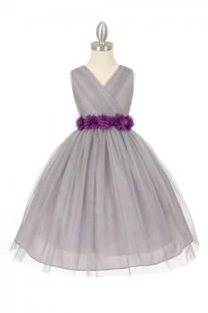 bec03800aad Silver Purple Tulle V-Neck with Removable Floral Sash Flower Girl Dress