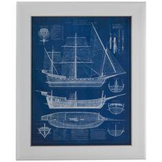 Bassett Mirror Pan Pacific Antique Ship Blueprint I Art