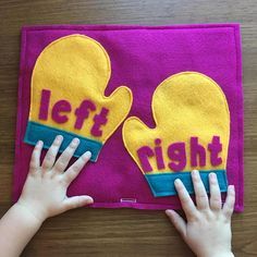 Left & Right Mitten's Quiet Book Page; Educational Toys Toddler Games Early Learning Busy Books Pages Preschool Left and Right HandsLEFT & RIGHT MITTENS Quiet Book Page: -This page will introduce the concept of right and left hands to your little one Diy Quiet Books, Baby Quiet Book, Felt Quiet Books, Diy Busy Books, Infant Activities, Preschool Activities, Summer Activities, Indoor Activities, Family Activities