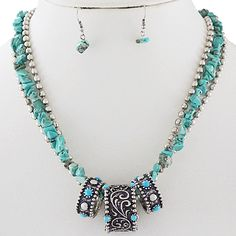 Western Necklace & Earring Set-Turquoise