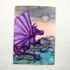 ACEO, Ink Art Fantasy, Purple Fire Dragon £2.25