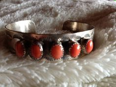 Vintage Native American Sterling Silver & Coral by Tessey2 on Etsy, $230.00